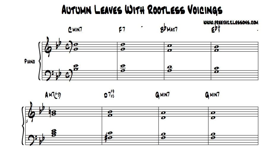 Piano piano chords voicing : How To Apply 10 New Piano Chords To The Jazz Tune Autumn Leaves